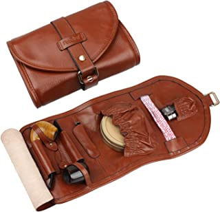 FIREDOG High-Grade Handmade Real Leather Smoking Tobacco Pipe Pouch Bag Organize Case Pipe Tool Holder for 2 Pipe