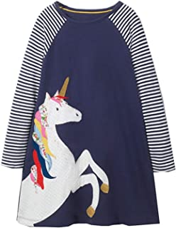 Girls Cotton Long Sleeve Dress,Toddler Floral Printed Casual Basic Dresses Baby Girls Animal Stripe Cartoon Clothes