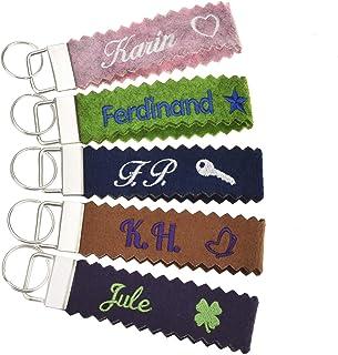 Schlüsselanhänger (mit Zacken) bestickt mit Name und Symbol in 34 Filz-Farben - mit Text, personalisiert, Bestickung Name ...