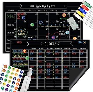 "Magnetic Refrigerator Chore Chart Set - 11"" x 17"" Inches - Chalkboard Dry Erase Reusable Calendar - Improve Responsibility..."