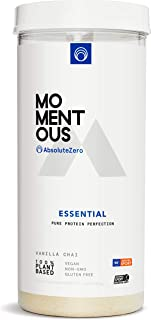 Essential Plant-Based Protein Powder, 20 Servings Per Jar for Essential Everyday Use, Vegan, Gluten-Free, Non-GMO, NSF Certified Live Momentous (Vanilla)