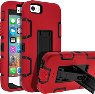 LUCKYCAT 5s iPhone Case,iPhone SE Case,iPhone 5 Case,SENON Shockproof Anti-Scratch Anti-Fingerprint Kickstand Protective Case Cover for Apple iPhone SE/5S/5, Red