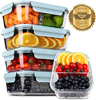 [5-Pack] 2019 Upgrade Kit Glass Meal Prep Containers, DEKINMAX Large Glass Food Storage Containers with Lids, Airtight Glass Bento Boxes, BPA Free & FDA Approved & Leak Proof