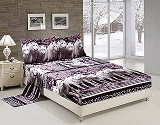 Bednlinens Luxury 4 Piece Sheet Set 3d White Mountain Wolf Print King Size Black/White (WOLF-Y08)