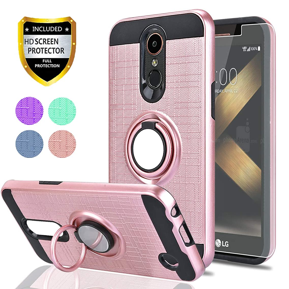 LG K20 Plus/K20 V/Harmony/Grace LTE/K10 2017 Case with HD Screen Protector,Ymhxcy 360 Degree Rotating Ring & Bracket Rubber Dual Layer Shock Bumper Resistant Back Cover for LV5-ZH Rose Gold