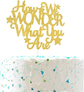 How We Wonder What You Are Cake Topper,He or She Sign, Baby Shower Gender Reveal Pregnancy Announcement Party Decorations( Double Sided Gold Glitter )