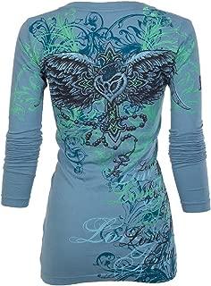 Affliction Archaic Womens LS T-Shirt MI Amore Tattoo Biker UFC Sinful