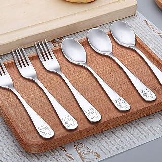 YFOX 6 pièces de Vaisselle pour Enfants en Acier Inoxydable,Contenu 3X Fourchette de Table, 3X cuillère de Table (Petit Ours)