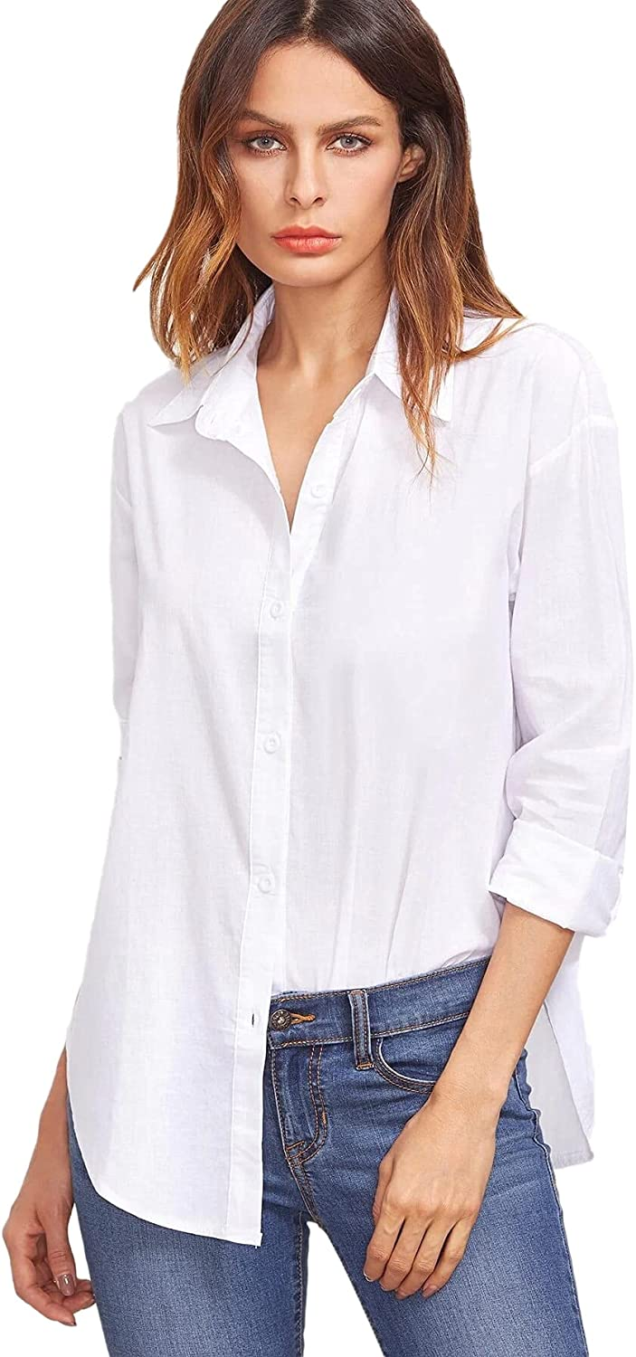 Floerns Women's Solid Long Sleeve Button Down Casual Work Plain Blouse Tops
