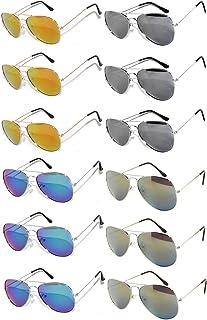 7fab57f81fd7 12 Pairs Classic Aviator Sunglasses Metal Gold Silver Black Colored Mirror  Lens OWL