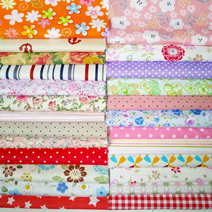 Quilting Fabric, Misscrafts Cotton Craft Fabric Bundle Squares Patchwork Pre-Cut Quilt Squares for DIY Sewing Scrapbooking Quilting Dot Pattern (25PCS 20X20cm)