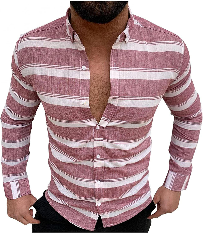 VEKDONE Men's Slim-Fit Long-Sleeve Wrinkle Resistant Stretch Oxford Shirts Hipster Hip Hop Striped Button Down Poplin Shirt