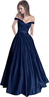 d66274d91459 Harsuccting Off The Shoulder Beaded Satin Evening Prom Dress with Pocket