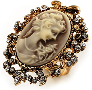 Vintage Filigree Cameo CZ Ring (Burnised Gold Tone)
