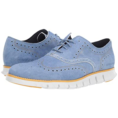 Cole Haan Zerogrand Wingtip Oxford Leather (Denim Extra Blue Suede/Sunset Gold/Optic White) Men