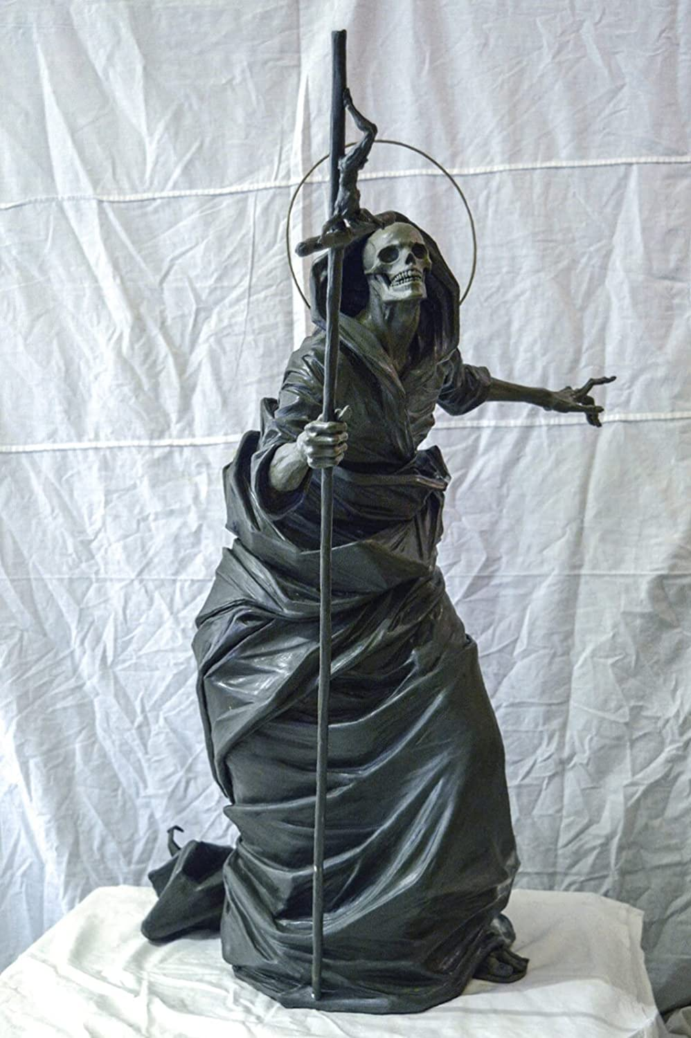 Black Skeleton Guardian Sculpture Cheap super special price Now free shipping Gothic Rea Statue Yard Decor