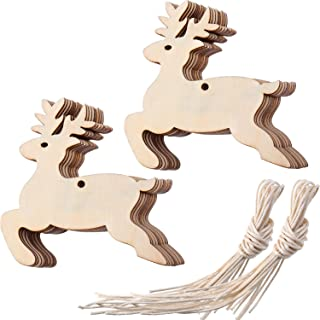 Tatuo Wooden Reindeer Cutouts Christmas Reindeer Hanging Ornaments with Ropes for Decoration and Craft, Pack of 20