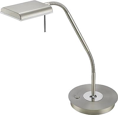 Trio Bergamo Lampada Tavolo, 1 x LED, SMD, 3000 K, 1100 Lm, Touchdimmer, Flessibile Integriert, 12 W, Nickel Opaco, 40 x 20.5 x 50 cm