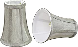 Aspen Creative 30246-2 Small Bell Shape Chandelier Clip-On Lamp Shade Set with Transitional Design in Silver Grey, 4