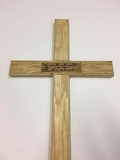 Cruz de madera para recordatorio temporal, de roble macizo, para cementerio, personalizable con el nombre, fecha y mensaje de su ser querido-