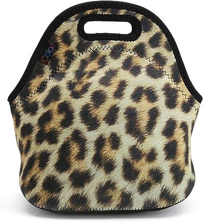 07e482b6ec Leopard Print Insulated Lunch Tote Bag Cooler Box Neoprene Lunchbox for  School Work