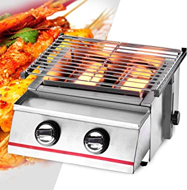 2-Burner LPG Gas BBQ Grill Silver Stainless Steel Sliver Portable Gas Grill Multi-Function Adjustable Tabletop Smokeless Outd