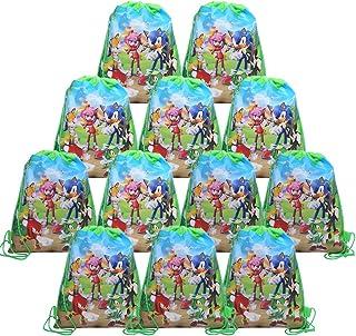 REYOK Bolsas de Sonic The Hedgehog 12Pcs Bolsas con Cordón Dibujos Animados Mochila Bolsas para cumpleaños niños y Adultos...