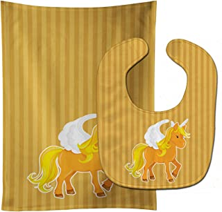 Caroline's Treasures Unicorn Orange Stripes Baby Bib & Burp Cloth, Multicolor, Large