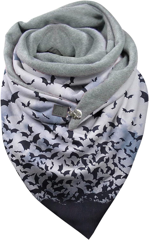 Womens Halloween Scarves Skeleton Pumkin Spider Fall Winter Scarves & Shawls Buckle Scarf Cozy Button Blanket Shawl Wrap