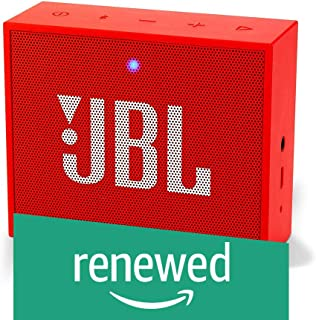 (Renewed) JBL Go + Portable Wireless Bluetooth Speaker with Mic (Red)