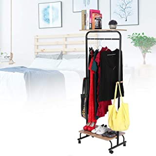Portant à Vêtements Multifonction à Roulettes, Porte-Manteau avec Barre de Suspension Meuble de Vêtements avec Tablette po...