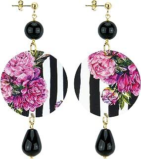 in Lebole Collezione The Circle DOR27 Fiore Rosa Orecchini da Donna in Ottone Pietra Nera