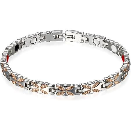Flongo Bracelet pour Femme en Acier Titane Charme Papillon Pierre Magnétique Lien Poignet Argent Rose Chaîne de Main Fantaisie Bijoux