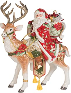 Fitz and Floyd Cardinal Christmas Santa and Stag Centerpiece, 16-Inch, Holiday Red