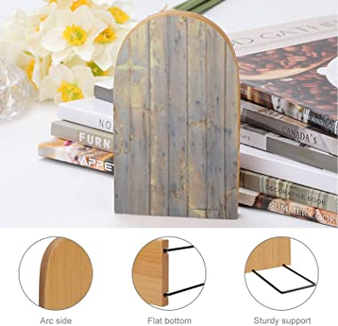 2 Pcs Wood Bookends Yellow Paint on The Weathered Wooden Book Ends,Decorative Book Ends for Holding Books/Cookbooks/DVDs/Movi