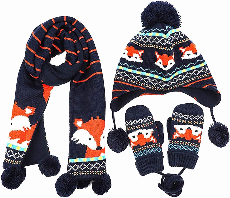 Happy 2021 Cherry Girls Boys Beanies Scarf Set Snug Selling Mitten Gloves Com