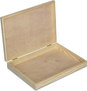 Creative Deco A4 Caja Madera para Decorar con Tapa | 34 x 25,3 x 5,3 cm | Documentos Decoracion Papeles Cartas Almacenaje Decoupage Herramientas Objetos de Valor Juguetes