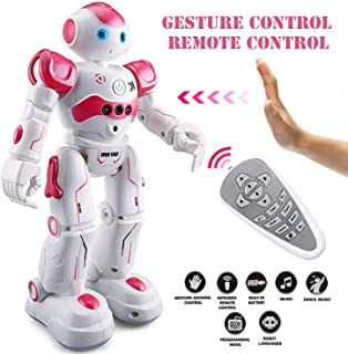 Eholder Smart RC Robot Toy for Kids, Gesture Sensing Dancing Robot for Boys Girls, Smart Remote Control Robot Programmable Robotic Toy Gift Pink