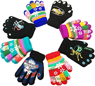 Children Warm Magic Gloves 8 Pairs, Kids Full Finger Knitted Stretchy Anti-slip Winter Glove for Boys and Girls