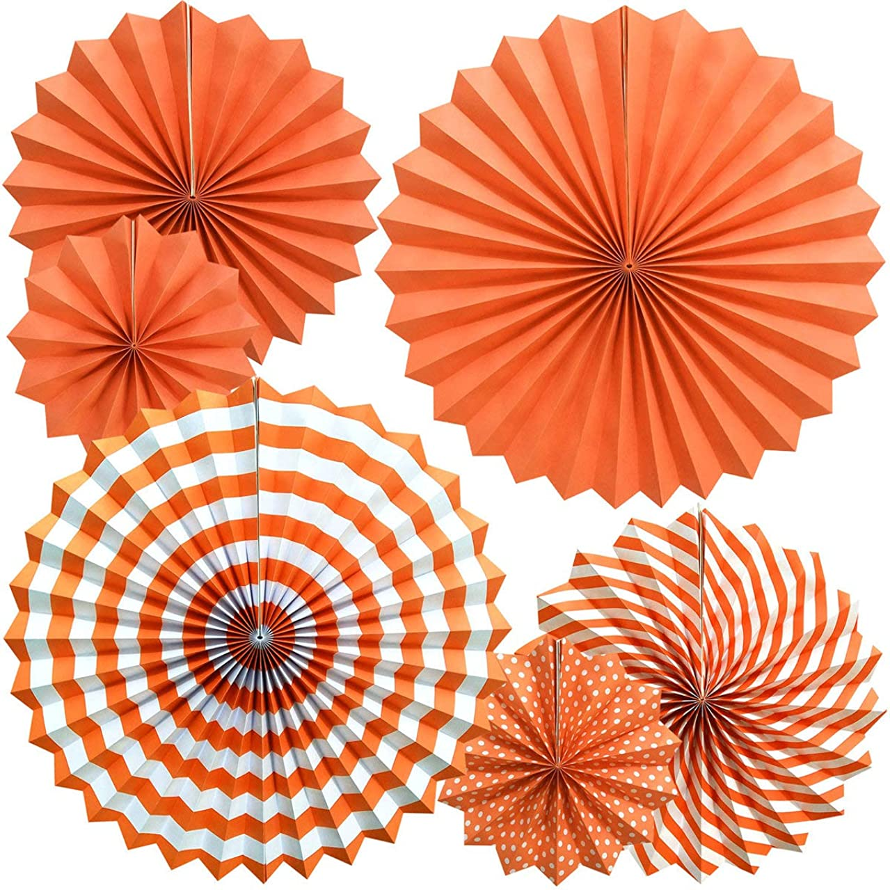 OMyTea Hanging Paper Fans Decorations Kit for Wall - Set of 6 Circle Rosettes Tissue Paper Fans Bulk for Party Favors, Wedding, Birthday, Festival, Christmas, Events, Home Decor (Orange)