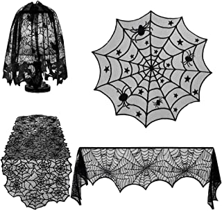*m·kvfa* Halloween Fireplace Decoration 4Pcs/Set Lace Spiderweb Scarf Spooky Bat Rectangular Tablecloth Round Lace Table Cover Lamp Shades and Fireplace Scarf Cover