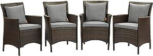 Modway EEI-4031-BRN-GRY Conduit Outdoor Patio Wicker Rattan Dining Armchair Set of 4, Brown Gray