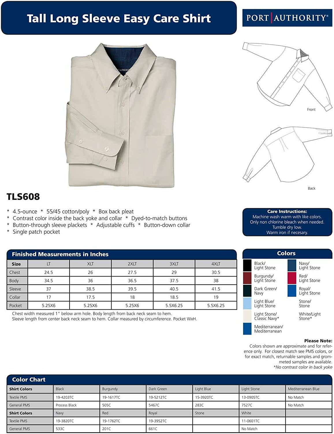 Port Authority - Tall Long Sleeve Easy Care Shirt. >> XLT,Red/Light Stone