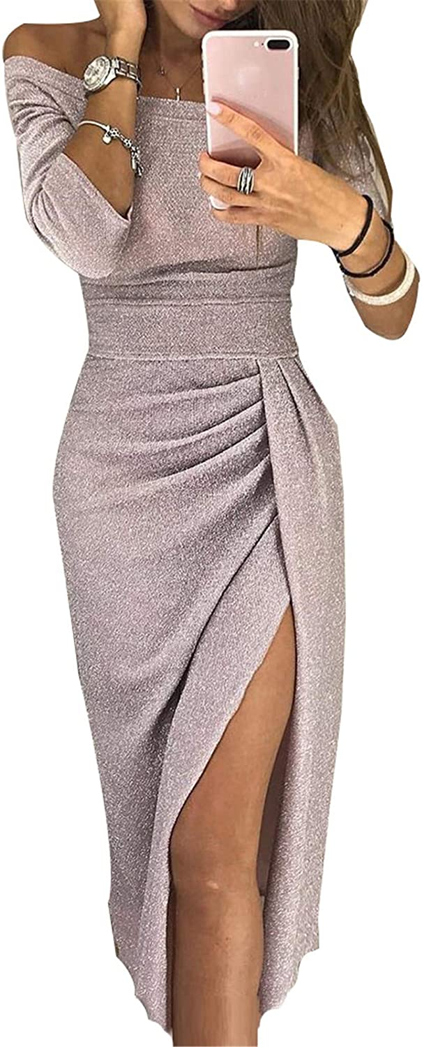 Soluo Clearance Women's Off Sequins Satin Bridesmaid Dress Mermaid Wedding Party Gown (Apricot,Large)