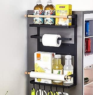 3 Tier Metal Kitchen Rack Magnetic Fridge Organizer Spice Rack Paper Towel Roll Holder Refrigerator Storage Shelf with 6 Removable Hooks, Black