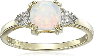 10K Yellow Gold Created Opal Cushion with Diamond October Birthstone Ring Size 6