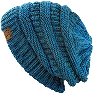 Trendy Warm Chunky Soft Stretch Cable Knit Beanie Skully, Teal/Blue