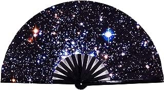 Amajiji Large Folding Hand Rave Fan for Women/Men, Chinease/Japanese Bamboo and Nylon-Cloth Hand held Folding Fan, Hand Fan Festival Fan Gift Fan Craft Fan Folding Fan Dance Fan (Starry Night Sky)