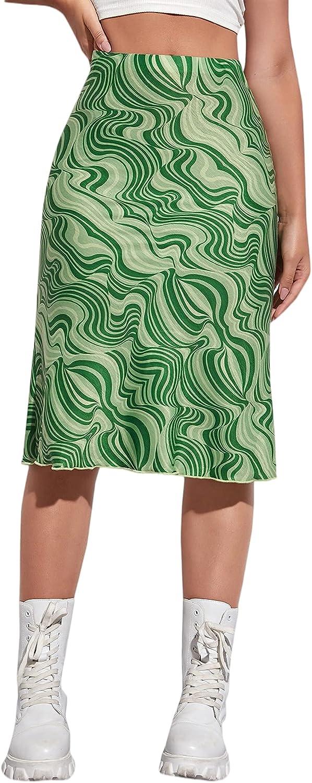 MakeMeChic Women's Casual High Waist Graphic Marble Print Bodycon Midi Skirt