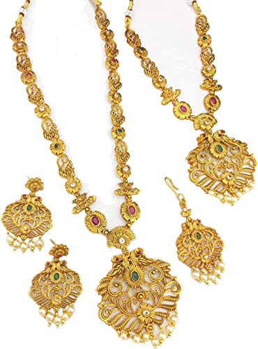 Indian Traditional Temple Jewellery Necklace Set for Girls Women Gold Plated Jewellery Set